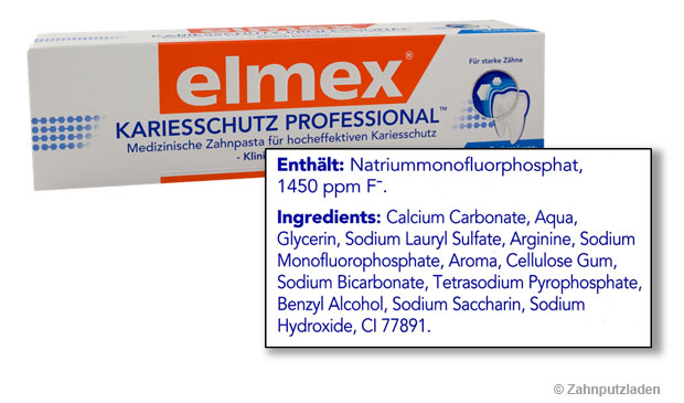 Aufdruck der Inhaltsstoffe gemäß INCI auf einer Zahnpastaverpackung