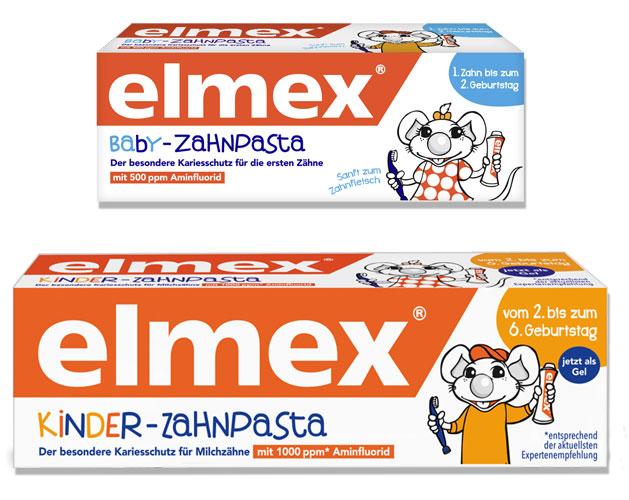 elmex Baby Zahnpasta und elmex Kinderzahnpasta mit geändertem Fluoridgehalt.