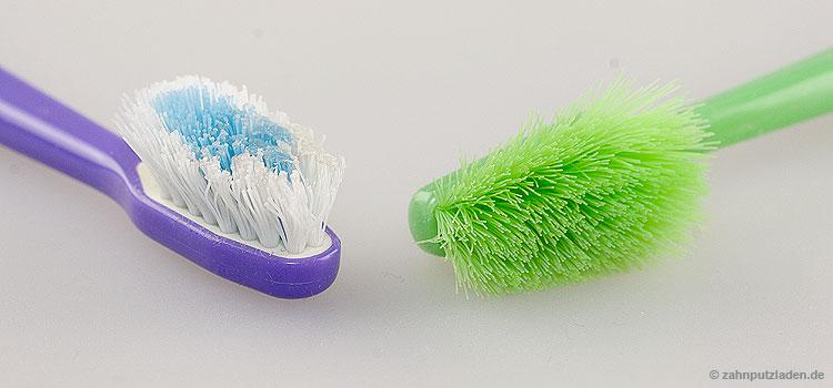 Alte Zahnbürsten mit abgebogenen Borstenbüscheln putzen schlechter